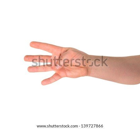 Counting: four finger sign as caucasian hand gesture isolated over white background - stock photo