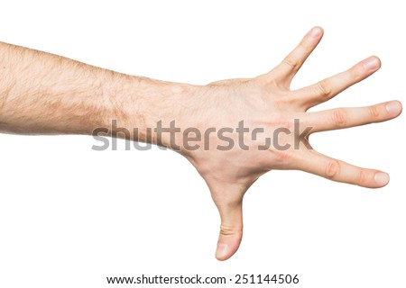 Counting gesture, male hand showing five fingers, isolated on white background - stock photo