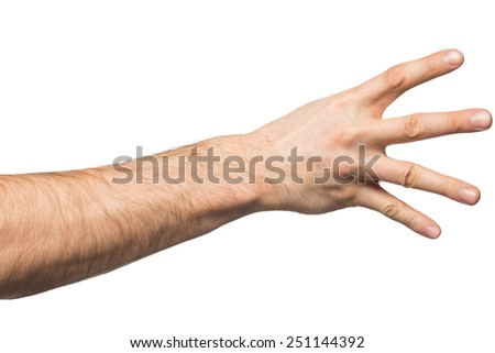 Counting gesture, male hand showing four fingers, isolated on white background - stock photo