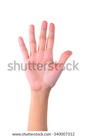 Counting hands isolated on white background