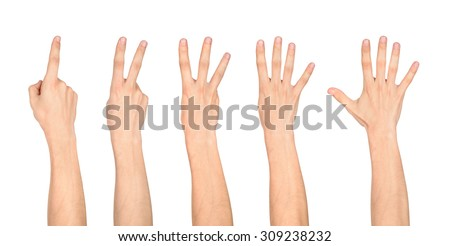 counting hands on the finger of one to five isolated on white background - stock photo
