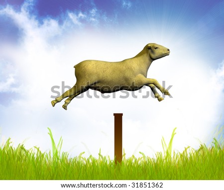 Counting jumping sheep - stock photo