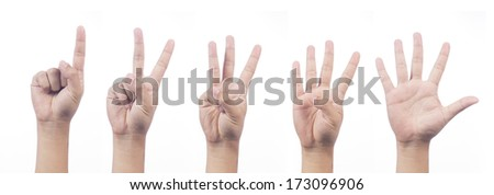 Counting man hands (1 to 5) isolated on white background