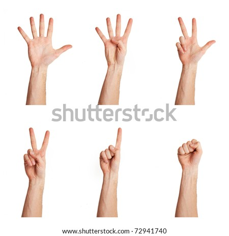 counting man's hand isolated over white background - stock photo