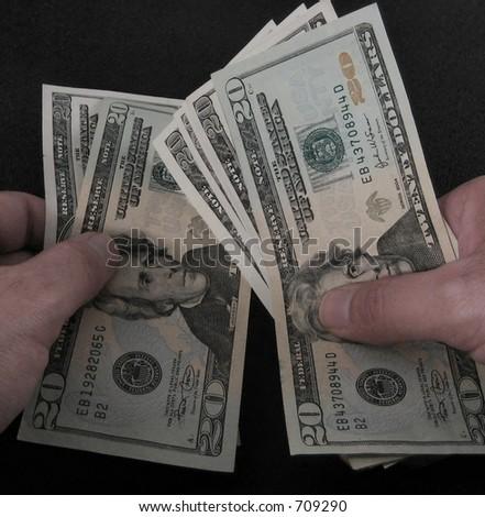 counting money - stock photo