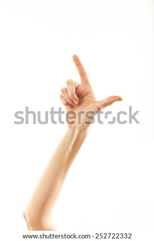 counting two with fingers woman - stock photo