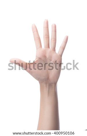 Counting woman hands five, number 5, isolated on white with clipping path  - stock photo