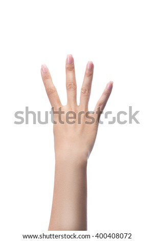Counting woman hands four, number 4, isolated on white with clipping path