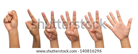 Counting woman hands (0 to 5) isolated on white background - stock photo