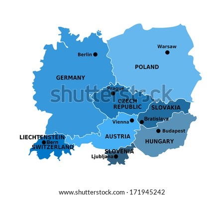 Countries in Central Europe, Map - stock photo