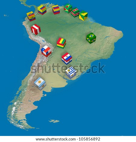 Countries of South America and blocks with flags - stock photo