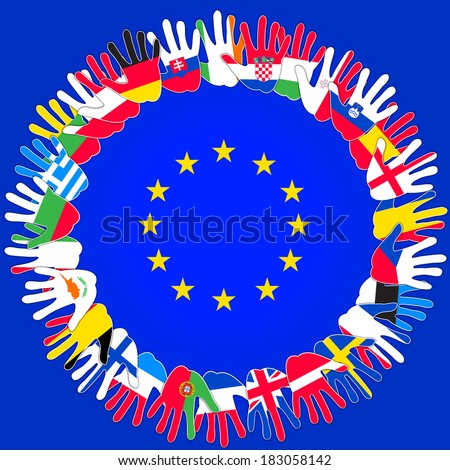 countries outside the EU against the background of the EU flag - stock photo