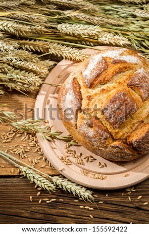 Country bread from a healthy grains