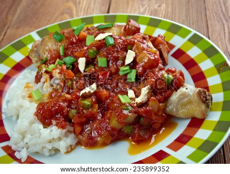 Country Captain - curried chicken and rice dish,  popular in  Southern United States. - stock photo