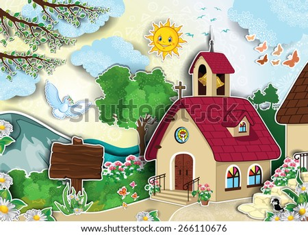 Country church and bell tower in landscape adhesive effect - stock photo
