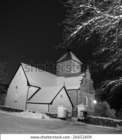 Country church in a winter evening