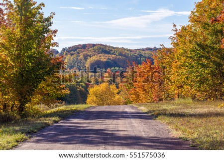 Country dirt road during autumn in northern Michigan