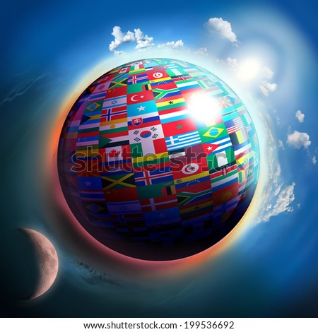 country flags globe in space, unity conceptual image. Elements of this image furnished by NASA - stock photo