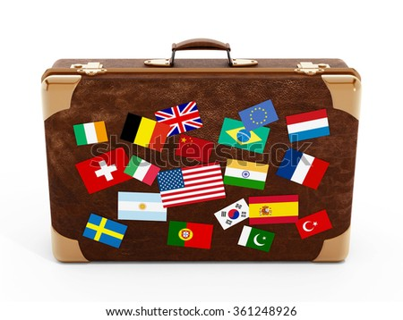 Country flags on suitcase isolated on white background.