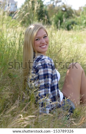 Country Girl Senior Picture - stock photo