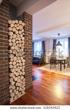 Country home - view from corridor at living room - stock photo