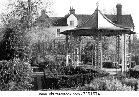 Country house garden in black and white.