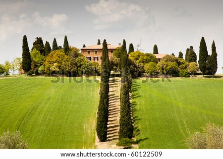 Country house near San Quirico d´Orcia, Tuscany, Italy - stock photo