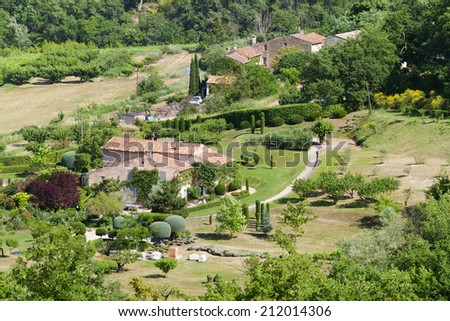 Country houses with yards in the Provence, France - stock photo