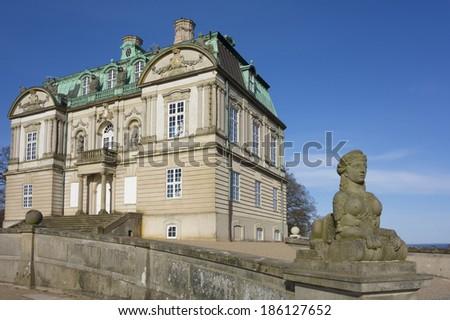 Country hunting palace of Danish King Christian sixth - stock photo