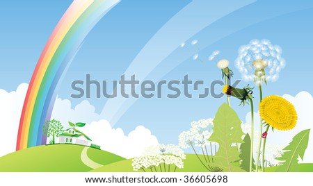 Country landscape with house. Raster version of vector illustration. - stock photo