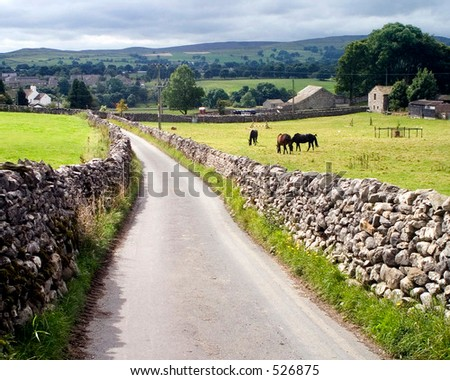 Country lane. Grassington, Yorkshire, UK.