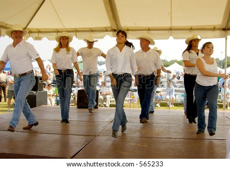Country Line Dancing - some noise - stock photo