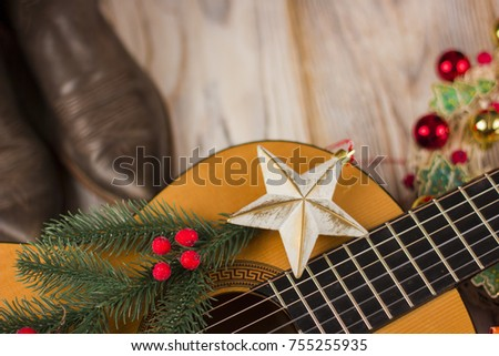 country music background with acoustic guitar and christmas decoration - Free Country Christmas Music