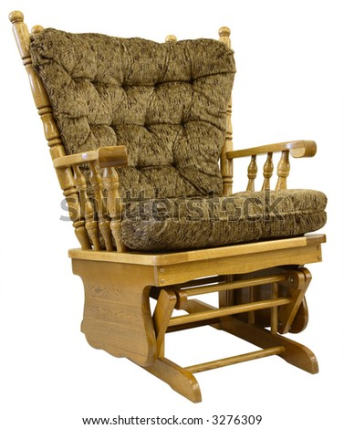 Country Oak Glide Rocking Chair in Brown Tweed Fabric - stock photo