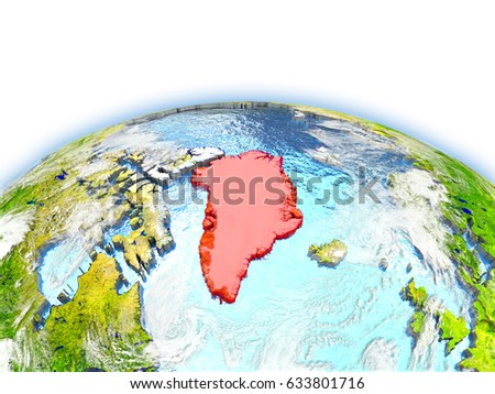 Country of Greenland on model of Earth. 3D illustration. Elements of this image furnished by NASA.