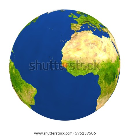 Country of Guinea-Bissau highlighted on globe. 3D illustration with detailed planet surface isolated on white background. Elements of this image furnished by NASA.