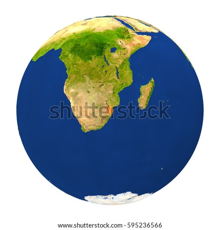 Country of Swaziland highlighted on globe. 3D illustration with detailed planet surface isolated on white background. Elements of this image furnished by NASA.