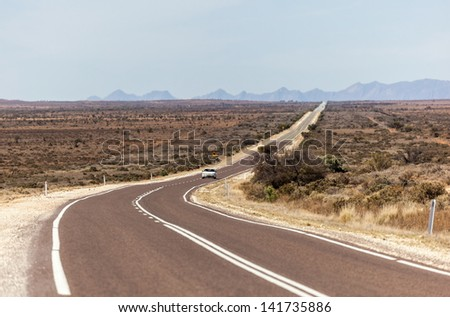 Country outback road. Flinders Ranges (near Hawker). South Australia. - stock photo