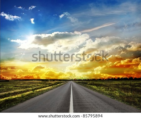 country road across the steppe