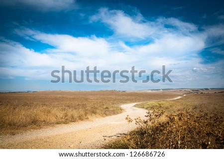 Country road and beautiful cloudscape with blue sky - stock photo