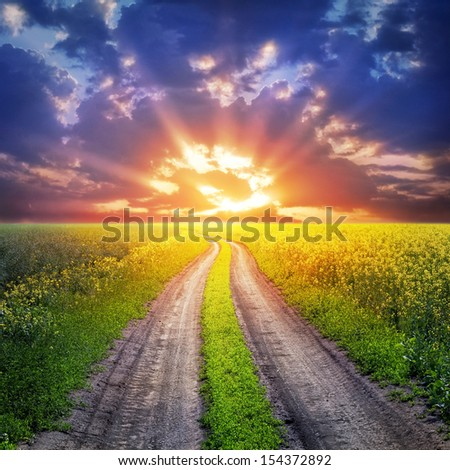 country road and sunset - stock photo