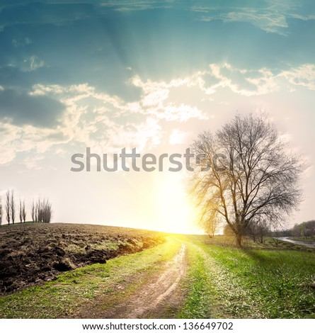 Country road disappearing into the distance to the sun - stock photo