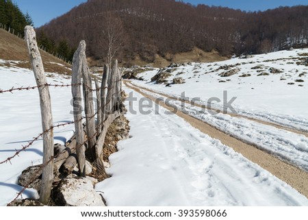 Country road in snow - stock photo