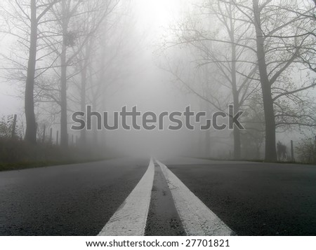 Country road on a misty. - stock photo