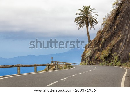 Country road on Gomera island, Spain - stock photo
