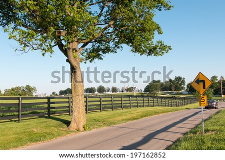 Country road surrounded the horse farms - stock photo