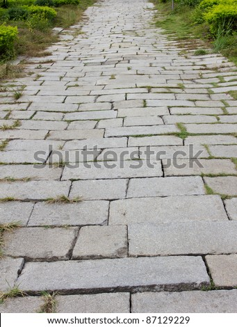 Country roads covered with stones - stock photo
