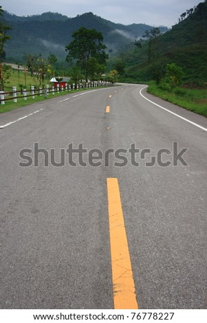 Country S-shaped road in the mountain, Thailand - stock photo
