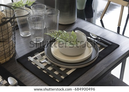 country style dining table at home
