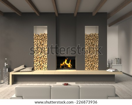 country style living room 3D rendering with fireplace - stock photo